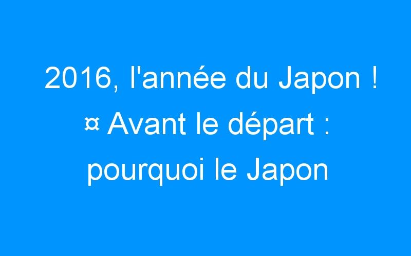 2016, l'année du Japon ! ¤ Avant le départ : pourquoi le Japon ?