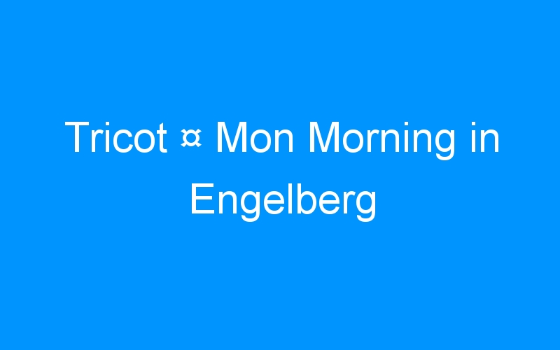 Tricot ¤ Mon Morning in Engelberg
